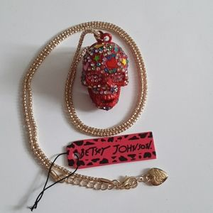 Preowned  Betsey Johnson  Red Skull Necklace